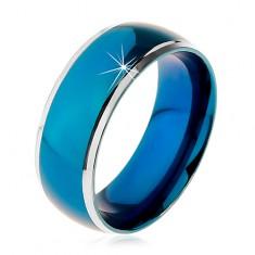 Gyűrű sebészeti acélból, lekerekített kék sáv, ezüst színű szegély, 8 mm