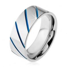 Gyűrű 316L acélból ezüst színben, kék átlós sávok, 8 mm