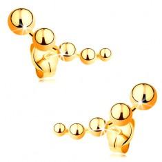 Beszúrós fülbevaló sárga 585 aranyból - kisebbedő golyók