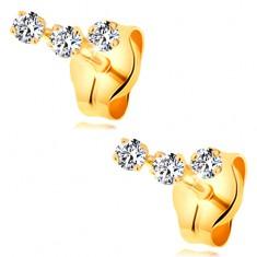 Fülbevaló sárga 14K aranyból - ív három apró átlátszó cirkóniából