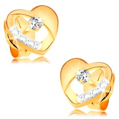 14K arany fülbevaló - szimmetrikus kétszínű szív kivágással és átlátszó cirkóniával
