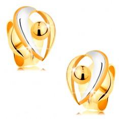 585 stekkeres fülbevaló - ívek fehér és sárga aranyból, golyó
