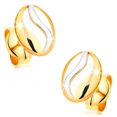 Két színű fülbevaló 14K aranyból - ovális körvonal hullámmal fehér aranyból