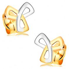 14K arany fülbevaló - háromágú keltai csomó kombinált aranyból, stekkerek