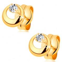 Fülbevaló sárga 14K aranyból - kidomborodó kör kivágással és átlátszó cirkóniával
