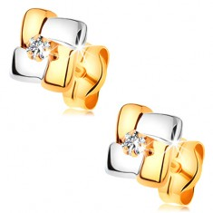 585 arany fülbevaló - négyzet kétszínű sávokból, kerek átlátszó cirkónia középen