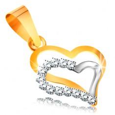 14K arany medál - két szív körvonal fehér és sárga aranyból, cirkóniák