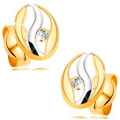 Két színű fülbevaló 14K aranyból - ovális körvonal hullámmal fehér aranyból, cirkónia