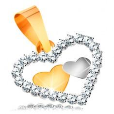 585 kombinált arany medál - két kis szívecske egy szívkörvonalban cirkóniákkal kirakva
