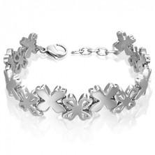 Nemesacél karkötő - ezüst virágok