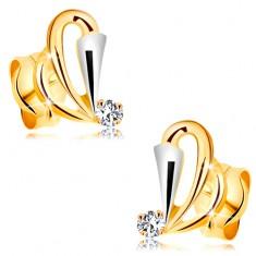 Fülbevaló 14K aranyból - könnycsepp körvonalak, szélesített sáv fehér aranyból és átlátszó cirkónia