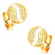 585 arany beszúrós fülbevaló - kis kör fehér arany hullámmal és pontokkal