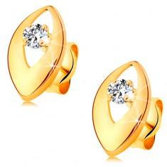 Fülbevaló sárga 14K aranyból - fényes szem kivágással és átlátszó kerek cirkóniával