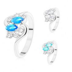 Gyűrű ezüst árnyalatban, két színes szem és kerek cirkóniák átlátszó színben