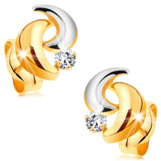14K arany fülbevaló, csillogó gyémánttal, két színű ívek, stekkerek