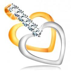 14K kombinált arany medál - vékony, szabályos szív körvonal, cirkóniás sáv