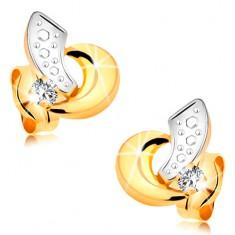 585 arany fülbevaló - ívek fehér és sárga aranyból, átlátszó csillogó brilliáns