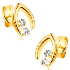 Gyémánt fülbevaló sárga 14K aranyból - két brilliáns egy csúcsos patkóban