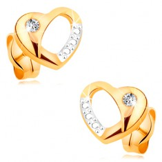 Brilliáns fülbevaló 14K aranyból - kétszínű szív kivágással és gyémánttal