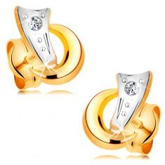 Kétszínű 14K arany fülbevaló - két ív és csillogó gyémánt átlátszó színben