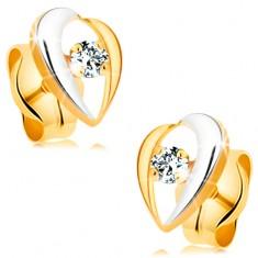 Fülbevaló 14K aranyból - átlátszó gyémántot szegélyező hajlított vonalak, kétszínű