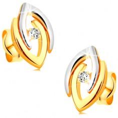 Fülbevaló 14K aranyból - összekapcsolt kétszínű patkó és átlátszó csillogó brilliáns