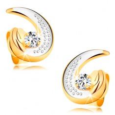 585 arany fülbevaló - részleges kétszínű könnycsepp körvonal, kerek átlátszó gyémánt