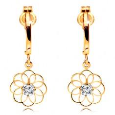 Gyémánt fülbevaló sárga 14K aranyból - függő virág csillogó brilliánssal