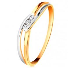 Gyémánt gyűrű 14K aranyból, három átlátszó brilliáns, kettéválasztott hullámos szárak