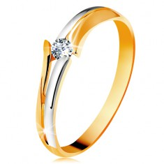 Gyémánt 585 arany gyűrű, csillogó átlátszó brilliáns, osztott kétszínű szárak