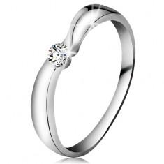 Gyűrű fehér 14K aranyból csillogó átlátszó brilliánssal, szélesebb szárak