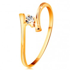 Gyűrű sárga 585 aranyból - csillogó átlátszó brilliáns, vékony hajlított szárak