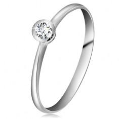 Gyűrű fehér 14K aranyból - csillogó átlátszó brilliáns fényes foglalatban, szűkített szárak