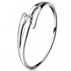 Brilliáns gyűrű fehér 14K aranyból - osztott hullámos szárak, átlátszó gyémánt