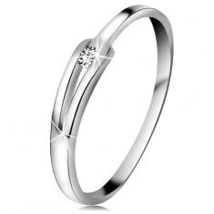 Brilliáns gyűrű fehér 14K aranyból - csillogó átlátszó gyémánt, keskeny osztott szárak