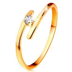 Gyémánt gyűrű sárga 14K aranyból - csillogó átlátszó brilliáns, vékony meghosszabított szárak