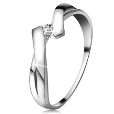 Gyűrű fehér 585 aranyból csillogó gyémánttal, osztott egymást keresztező szárak