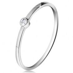 Gyűrű fehér 14K aranyból - csillogó átlátszó brilliáns fényes foglalatban, vékony szárak