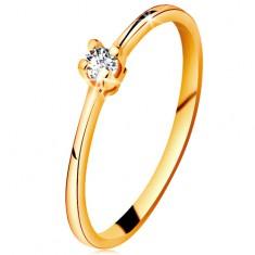 585 arany gyűrű - csillogó átlátszó brilliáns négyágú foglalatban, szűkített szárak