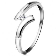 Gyémánt gyűrű fehér 14K aranyból - csillogó átlátszó brilliáns, fényes hajlított szárak