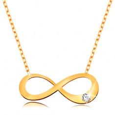 14K arany nyaklánc - lapos végtelen szimbólum átlátszó brilliánssal, csillogó lánc