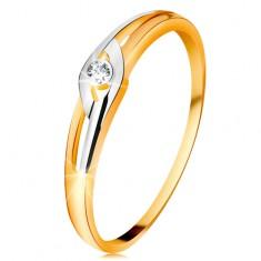 Gyémánt gyűrű 14K aranyból, kétszínű szárak kivágásokkal, átlátszó brilliáns