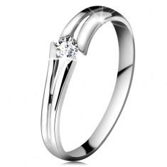 585 arany gyűrű csillogó átlátszó brilliánssal, osztott szárak, fehér arany