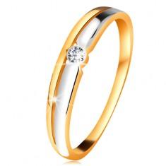 Brilliáns gyűrű 14K aranyból - átlátszó gyémánt kerek foglalatban, kétszínű vonalak