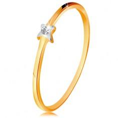 Kétszínű 585 arany gyűrű - csillag átlátszó brilliánssal, vékony szárak
