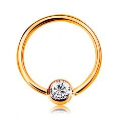 Piercing sárga 375 aranyból - fényes karika golyóval és beültetett átlátszó cirkóniával, 10 mm