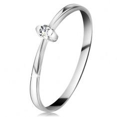 Gyűrű fehér 14K aranyból - csillogó átlátszó brilliáns kétágú foglalatban, szűkített szárak