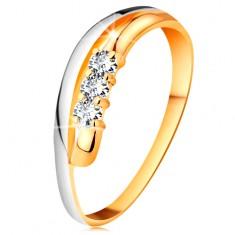 Brilliáns gyűrű 14K aranyból, hullámos kétszínű szárak, három átlátszó gyémánt