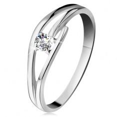 Gyűrű fehér 585 aranyból csillogó gyémánttal, osztott hullámos szárak