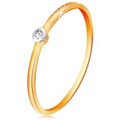 585 arany kétszínű gyűrű - átlátszó brilliáns kerek foglalatban, vékony szárak